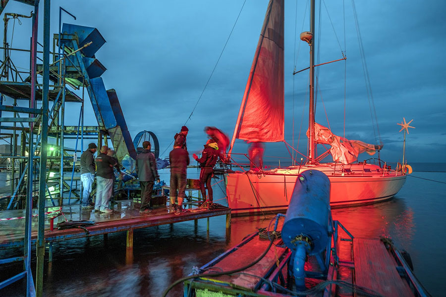 Styx by Wolfgang Fischer - The protagonists yacht being prepared for storm FX at MFS; Credit: Mark Cassar