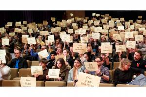 Filmmakers Protest for Arrested Director Oleg Sentsov at Berlinale Premiere