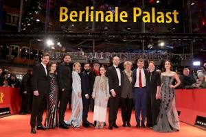 From left to right, Dawid Ogrodnik (Poland), Kristin Thora Haraldsdóttir (Iceland), Milan Marić (Serbia),  Ine Marie Wilmann (Norway),  Ardalan Esmaili (Sweden), Dieter Kosslick (Festival Director of the Berlin International Film Festival), Emma Drogunova (Germany), Blagoj Veselinov (FYR of Macedonia),  Monika Grütters (German Federal Government Commissioner of Culture and the Media), Elliott Crosset Hove (Denmark), Rea Lest (Estonia),  Aisling Franciosi (Ireland)