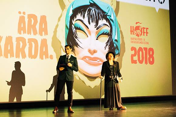 Opening ceremony, host of the evening Martin Veisman (left), HÕFF's artistic director Maria Reinup (right)