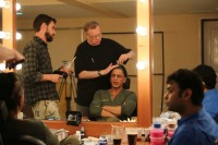 Shahrukh  Khan with director Maneesh Sharma and makeup artist Greg Cannom