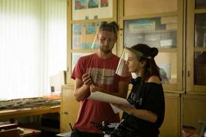 Lame-o's director Marta Elīna Martinsone (on the right) on the set